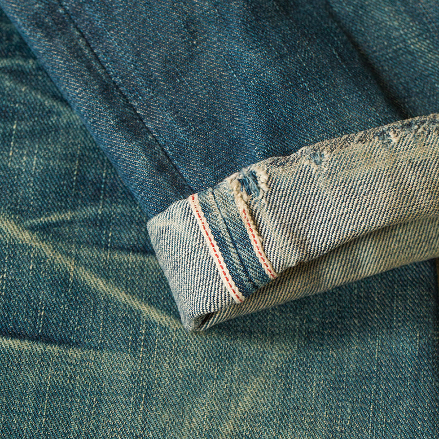 men's tapered fit japanese selvedge denim jeans | indigo | benzak BDD-711 green cast 15 oz. RHT | fades