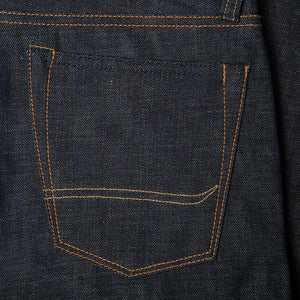 men's tapered fit japanese selvedge denim jeans | indigo | benzak BDD-711 green cast 15 oz. RHT | back pocket arc