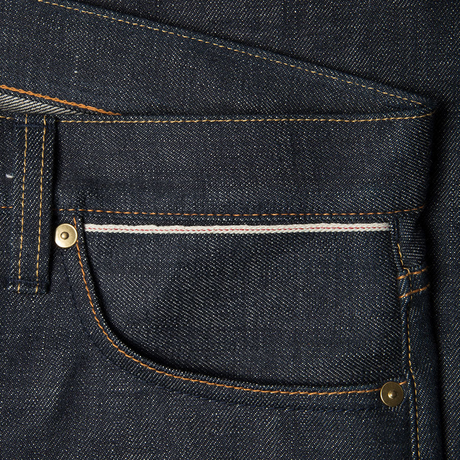 men's tapered fit japanese selvedge denim jeans | indigo | benzak BDD-711 green cast 15 oz. RHT | selvedge sixth pocket
