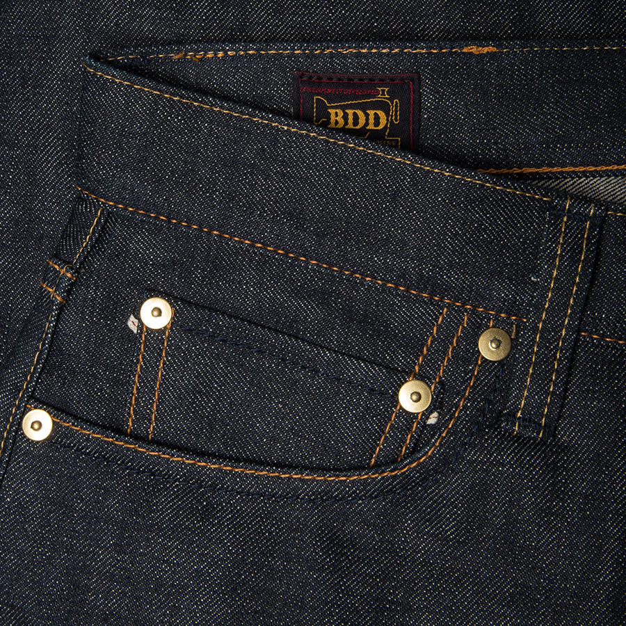 men's tapered fit japanese selvedge denim jeans | indigo | benzak BDD-711 green cast 15 oz. RHT | coin pocket