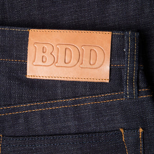 men's tapered fit japanese selvedge denim jeans | indigo | benzak BDD-711 heavy slub 16 oz. RHT | leather patch