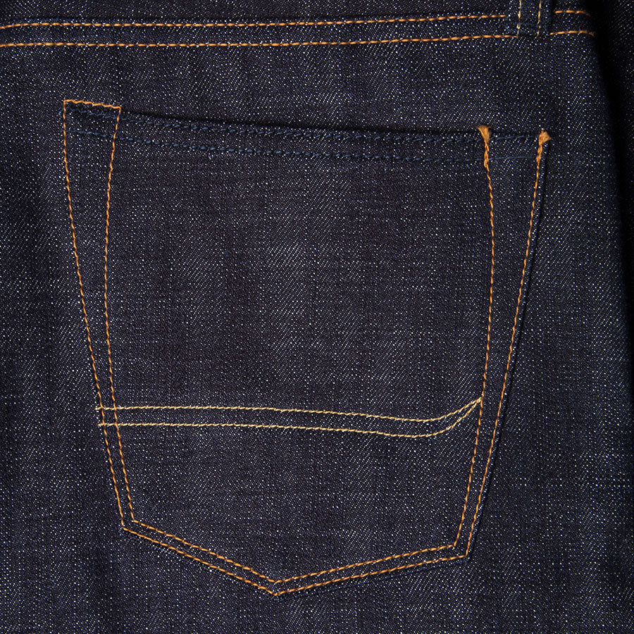 men's tapered fit japanese selvedge denim jeans | indigo | benzak BDD-711 heavy slub 16 oz. RHT | back pocket arc
