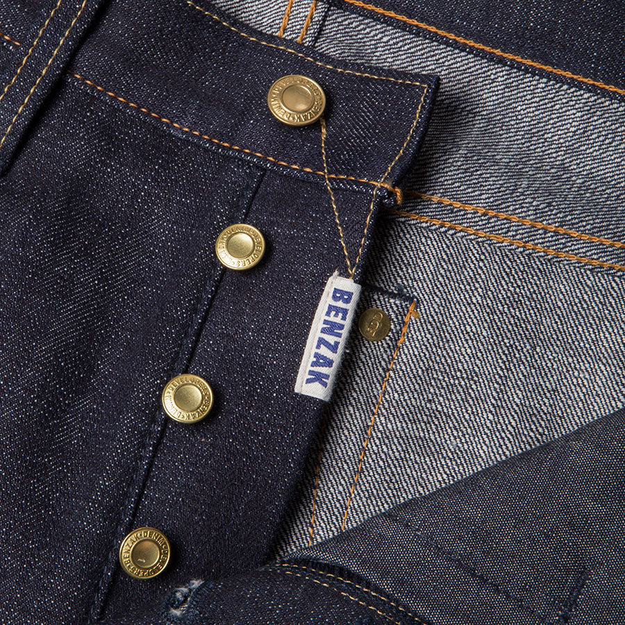 men's tapered fit japanese selvedge denim jeans | indigo | benzak BDD-711 heavy slub 16 oz. RHT | four button fly
