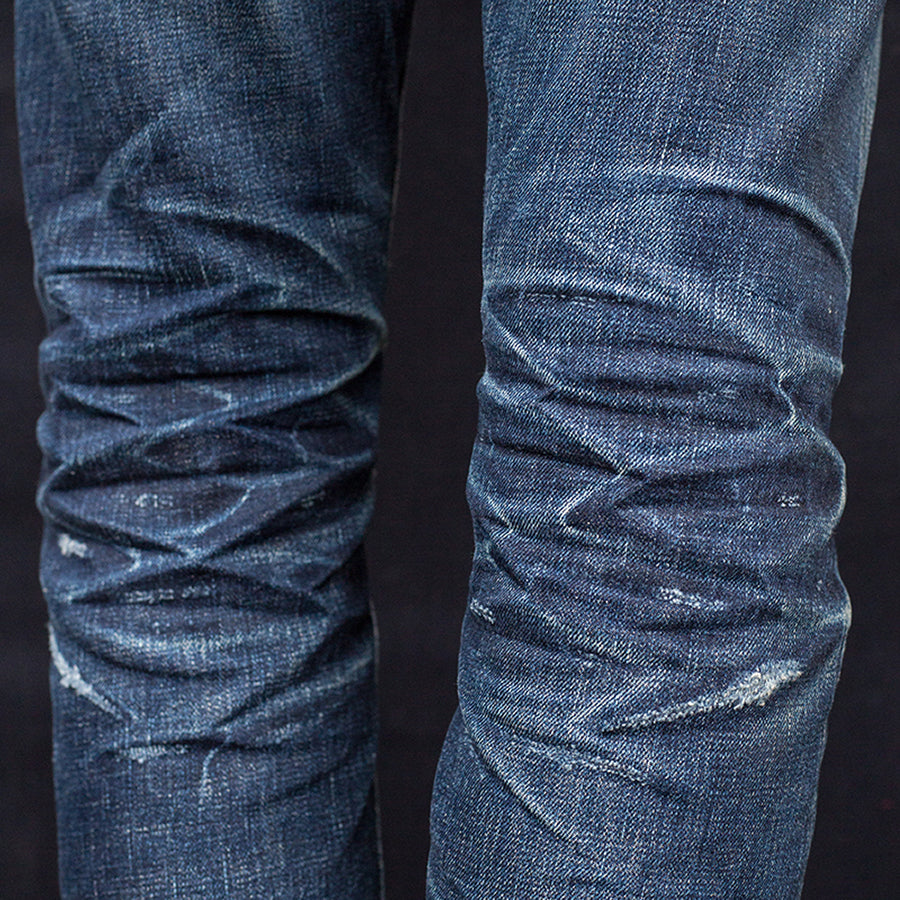 men's tapered fit japanese selvedge denim jeans | benzak BDD-711 special #1 low tension 14 oz. RHT | faded