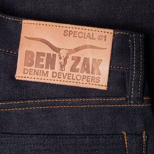 men's tapered fit japanese selvedge denim jeans | benzak BDD-711 special #1 low tension 14 oz. RHT | leather patch