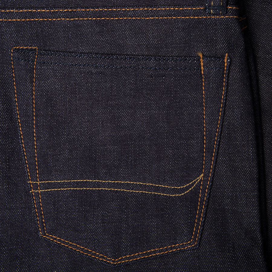 men's tapered fit japanese selvedge denim jeans | benzak BDD-711 special #1 low tension 14 oz. RHT | back pocket arc