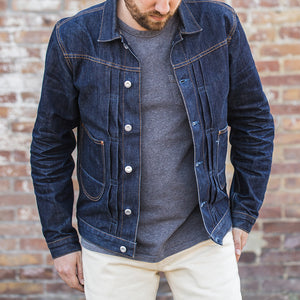men's denim jacket | made in italy | BDJ-01 COWBOY JACKET 15 oz. vintage indigo selvedge | benzak | fit pic