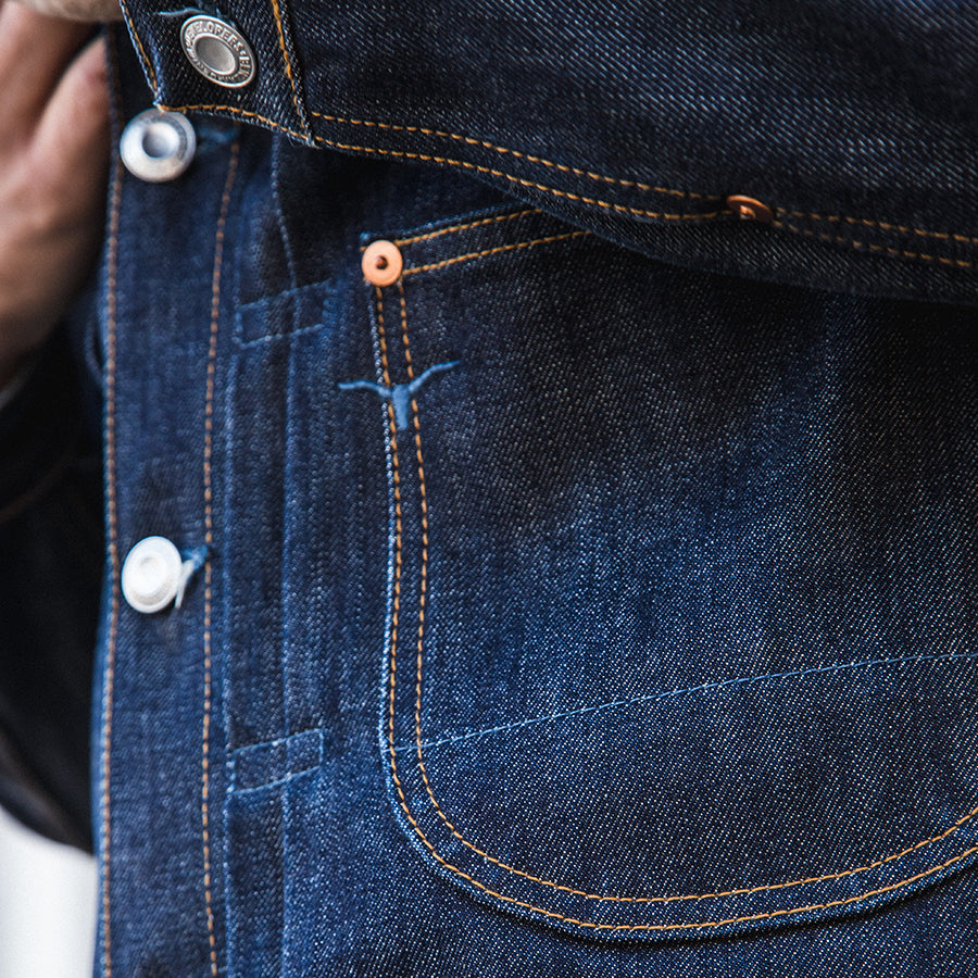 men's denim jacket | made in italy | BDJ-01 COWBOY JACKET 15 oz. vintage indigo selvedge | benzak | details