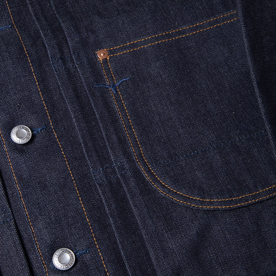 men's denim jacket | made in italy | BDJ-01 COWBOY JACKET 15 oz. vintage indigo selvedge | benzak | pleats