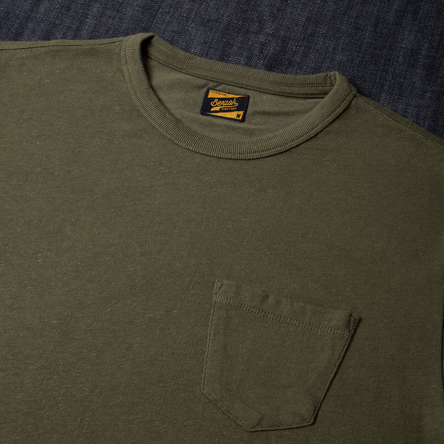 BT-01 POCKET TEE army green heavy jersey