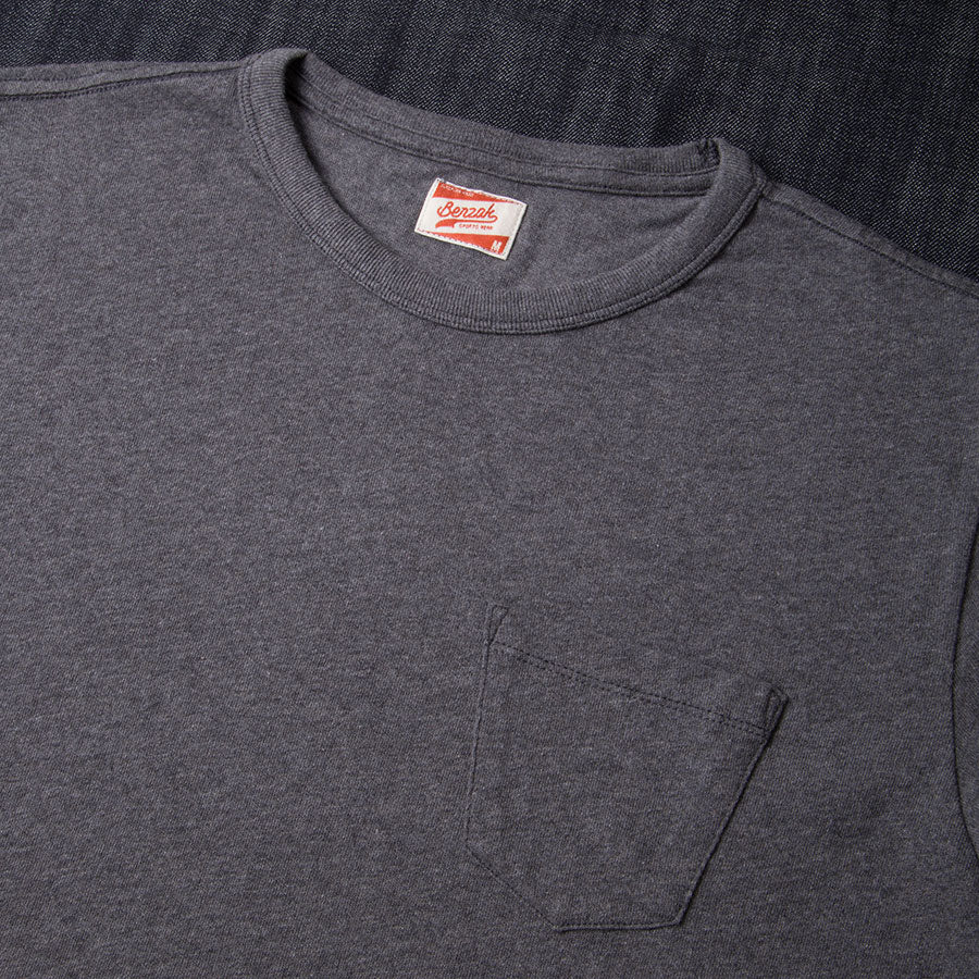 BT-01 POCKET TEE dark grey melee heavy jersey