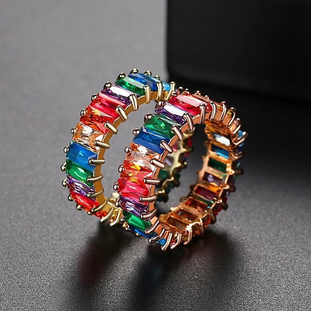 Multi-color Rainbow Healing Crystal Ring