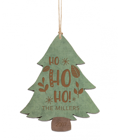 "Personalized Green & Brown Wood Tree Ornament 4.5"" x 3.5"""