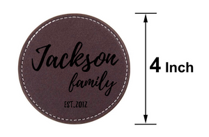 Personalized Leather Coffee Coasters - uncommon-etching