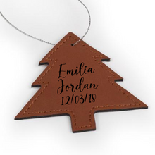 "Load image into Gallery viewer, Personalized Faux Leather Tree Ornament 3.5"" x 3.5"" - uncommon-etching"