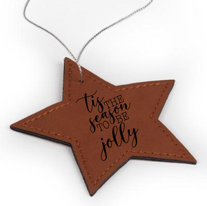 Personalized Faux Leather Star Ornament 3.6
