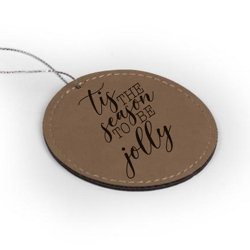 Personalized Faux Leather Round Circle Ornament 3