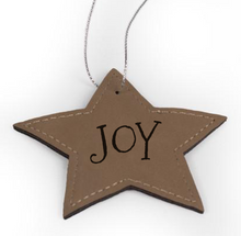 "Load image into Gallery viewer, Personalized Faux Leather Star Ornament 3.6"" x 3.6"" - uncommon-etching"