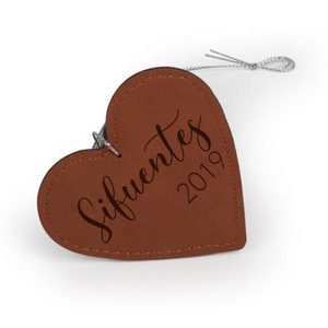 "Personalized Faux Leather Heart Ornament 2-3/4"" x 3"" - uncommon-etching"