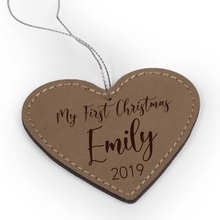"Load image into Gallery viewer, Personalized Faux Leather Heart Ornament 2-3/4"" x 3"" - uncommon-etching"