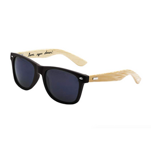 Personalized Women's Men's Bamboo Natural Wood Arms Classic Sunglasses - uncommon-etching