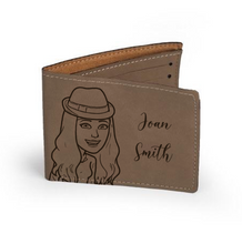 "Load image into Gallery viewer, Personalized Leather Wallet 4.75"" x 4.75"""
