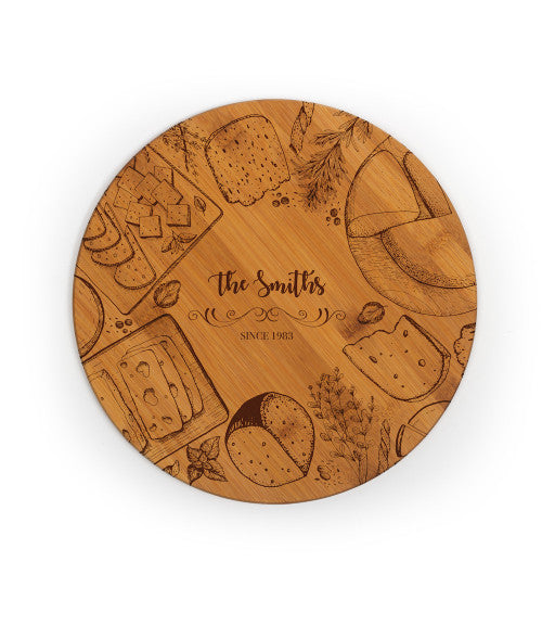 Personalized Customizable Round Bamboo Cutting Board (11.75