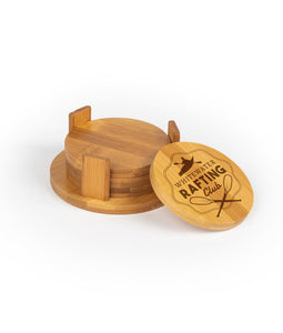 "Personalized Round Bamboo Wood Coasters - 3.75"" - uncommon-etching"