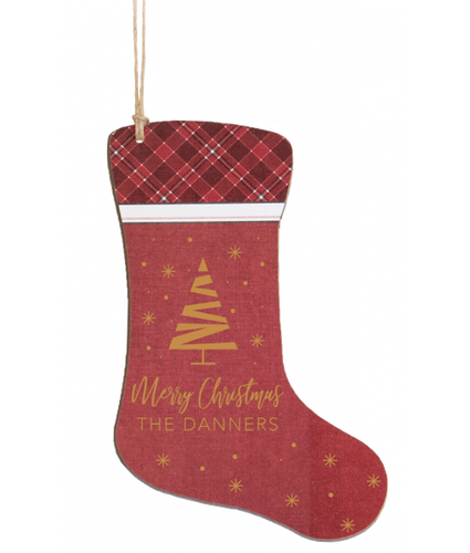 Personalized Red Wood Christmas Stocking Ornament 3.5