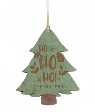 "Load image into Gallery viewer, Personalized Green & Brown Wood Tree Ornament 4.5"" x 3.5"" - uncommon-etching"