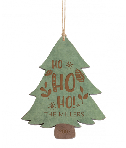 Personalized Green & Brown Wood Tree Ornament 4.5