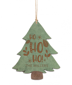 "Personalized Green & Brown Wood Tree Ornament 4.5"" x 3.5"" - uncommon-etching"