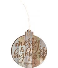 "Load image into Gallery viewer, Personalized Faux Wood Rustic Ornament 4.18"" x 3.86"" - uncommon-etching"