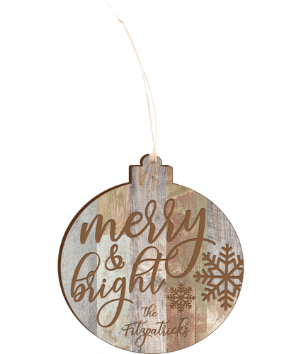 Personalized Faux Wood Rustic Ornament 4.18