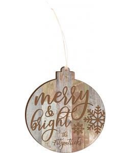 "Personalized Faux Wood Rustic Ornament 4.18"" x 3.86"" - uncommon-etching"