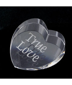 "Personalized Crystal Heart Paper Weight 2-7/8"" x 3-1/16"" x 3/4"" - uncommon-etching"
