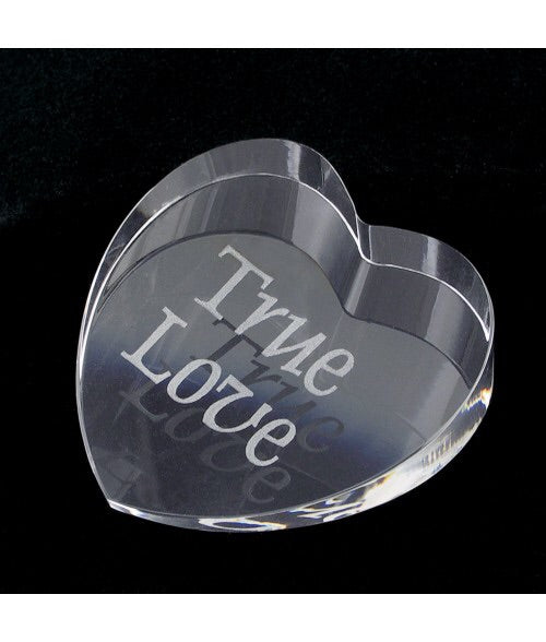 Personalized Crystal Heart Paper Weight 2-7/8