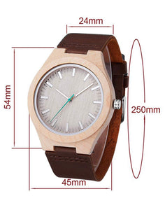 Personalized Natural Wood Mens Womens Leather Band Watch - uncommon-etching