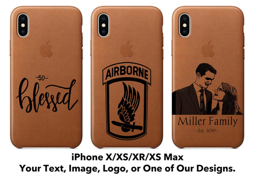 Personalized Leather iPhone X/XS/XR/XS Max Case - uncommon-etching