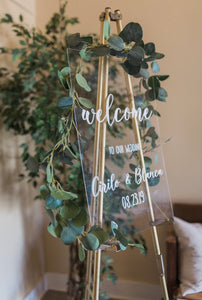 Clear Glass Look Acrylic Wedding Welcome Sign - uncommon-etching