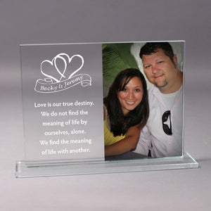 Personalized Glass Photo Stand - 3 Sizes Available! - uncommon-etching