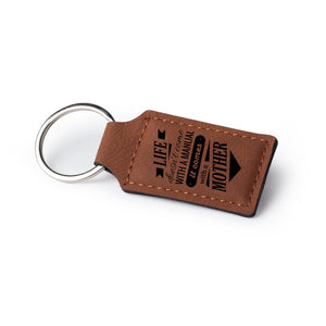 Personalized Custom Rectangular Leather Keychain - uncommon-etching
