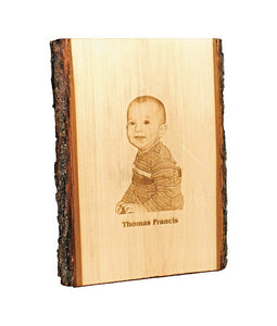 Basswood Natural Edge Grain Bark Personalized - uncommon-etching