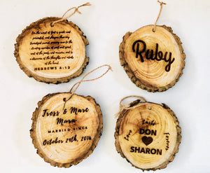 Natural Edge Hedge Wood Slice Ornaments