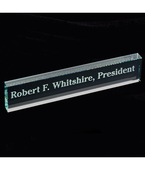Personalized Glass Beveled Edge Large Desk Name Bar/Sign 2
