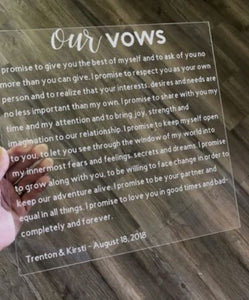 Acrylic Wedding Vow Board Sign Ceremony