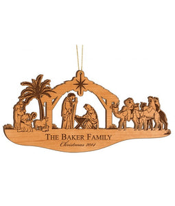 "Personalized Alder Wood Nativity Ornament - 2.25"" x 5"" - uncommon-etching"