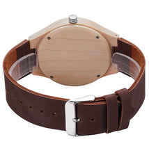 Load image into Gallery viewer, Personalized Natural Wood Mens Womens Leather Band Watch - uncommon-etching