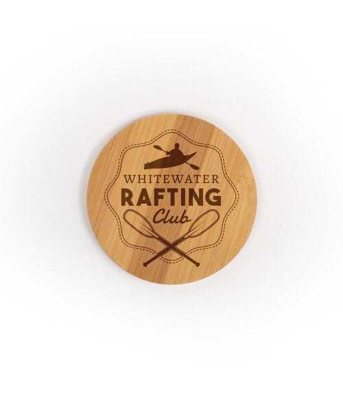Personalized Round Bamboo Wood Coasters - 3.75