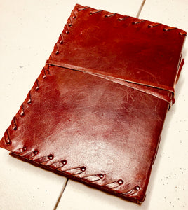 "Leather Bound Natural Custom Notepad 5""X7"" - uncommon-etching"